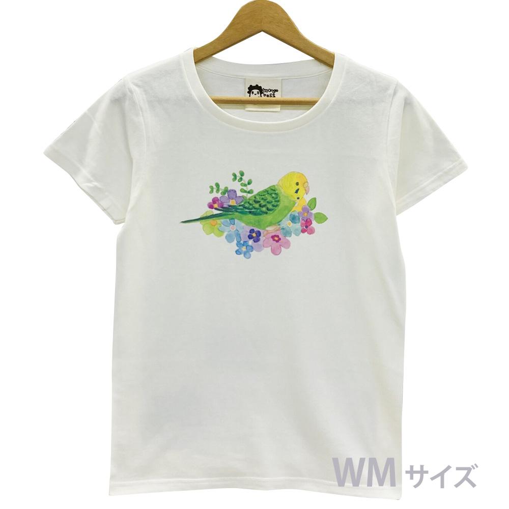 9998187【モンゴベス】 Tシャツ・女性用M / フラワー・セキセイグリーン ◆
