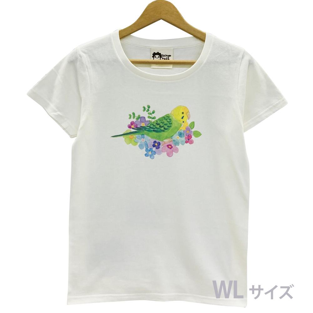 9998188【モンゴベス】 Tシャツ・女性用L / フラワー・セキセイグリーン ◆