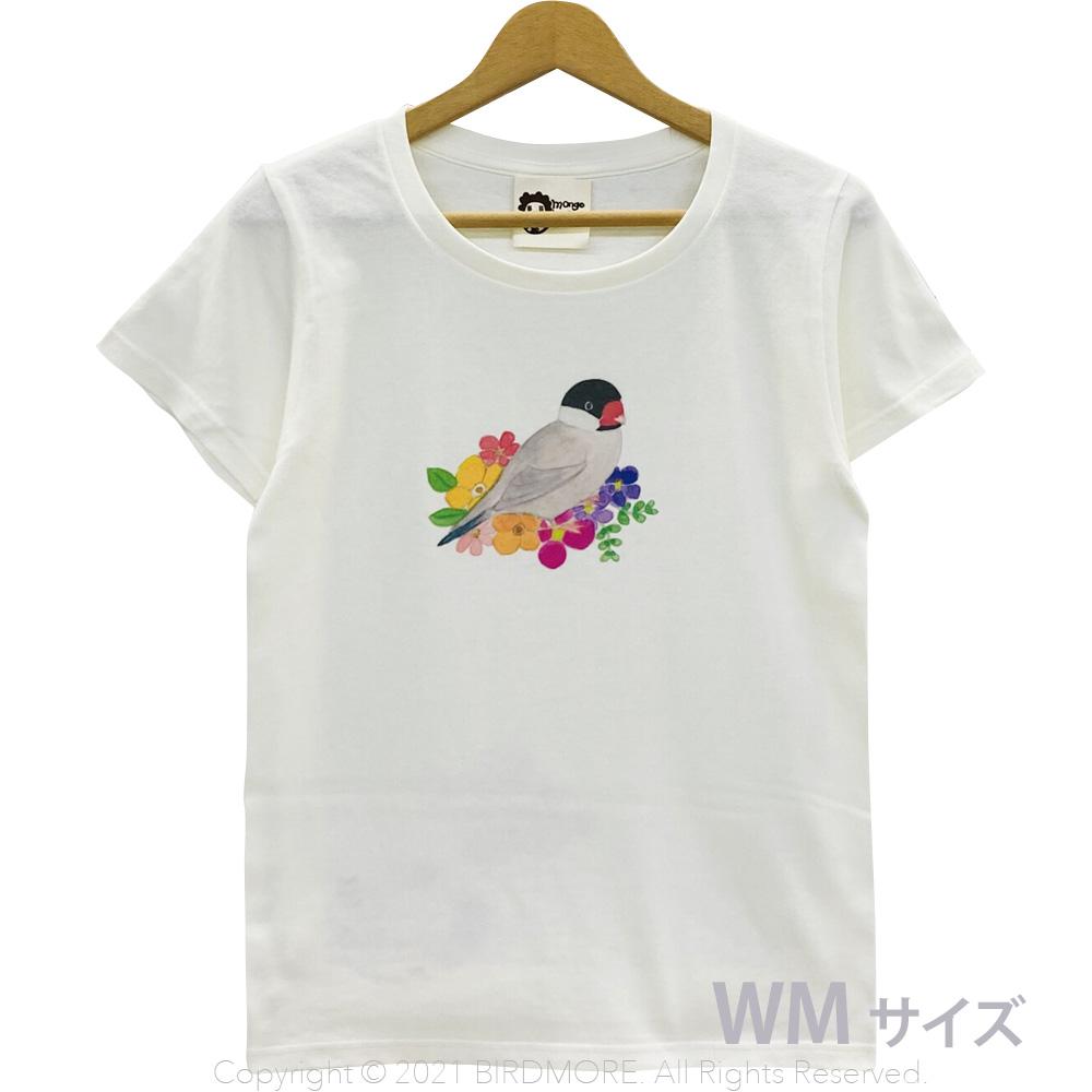 9998191【モンゴベス】 Tシャツ・女性用M / フラワー・文鳥 桜 ◆