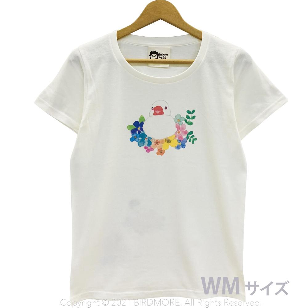 9998193【モンゴベス】 Tシャツ・女性用M / フラワー・文鳥 白 ◆