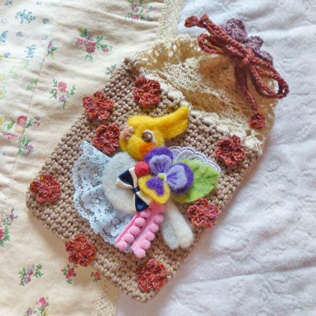【あにまるめいと】★編み巾着/オカメインコ・パイド