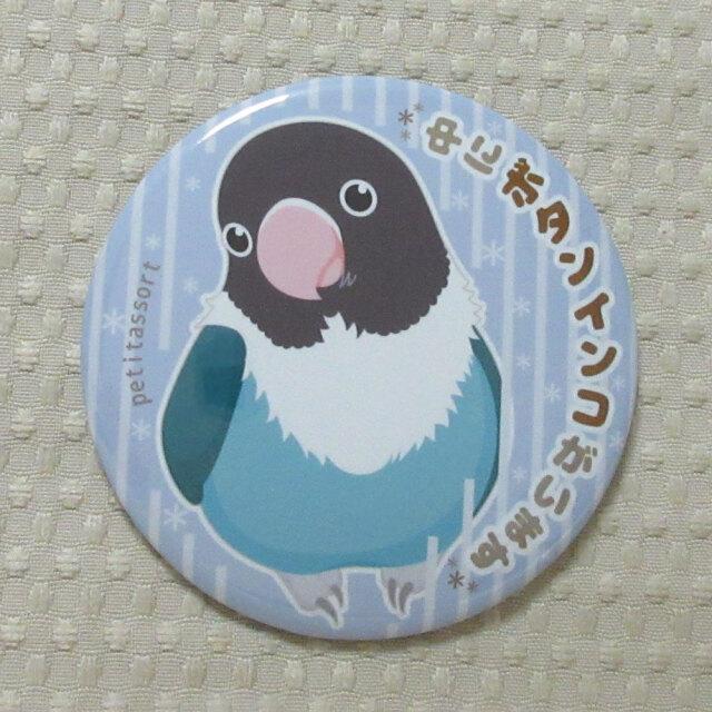 【petitassort】缶バッジ/ボタンインコ・ブルー
