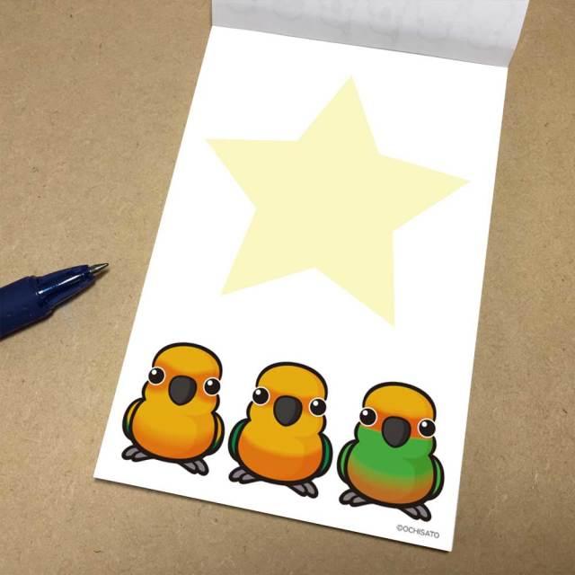 【いんこ屋堂】メモ帳/オレンジコニュア3羽◆