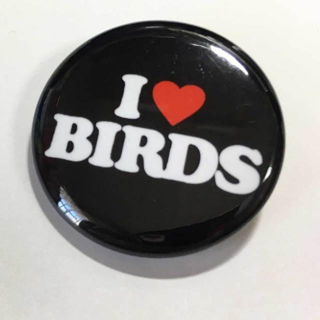 【いんこ屋堂】カンバッチ・黒/I LOVE BIRDS◆