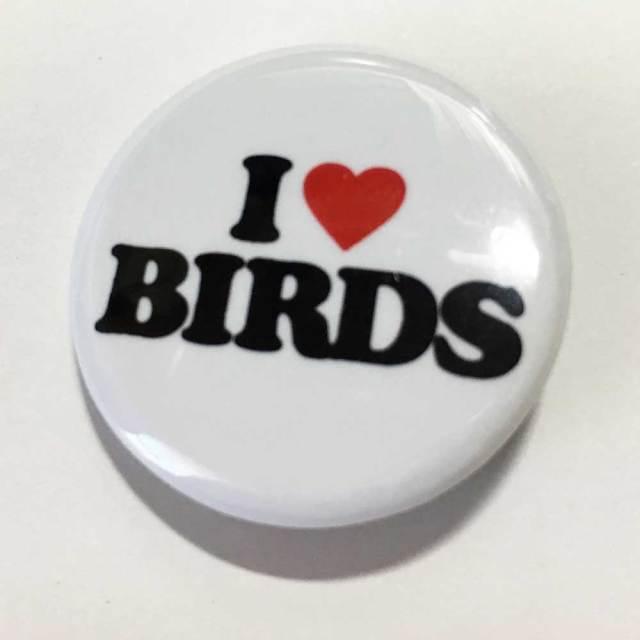 【いんこ屋堂】カンバッチ・白/I LOVE BIRDS◆
