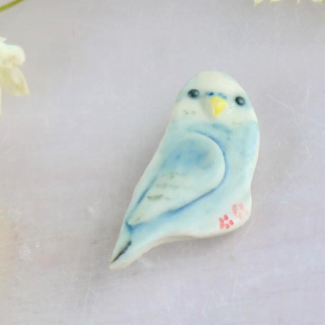 【小鳥雑貨はとはな】★ブローチ/セキセイ・水色