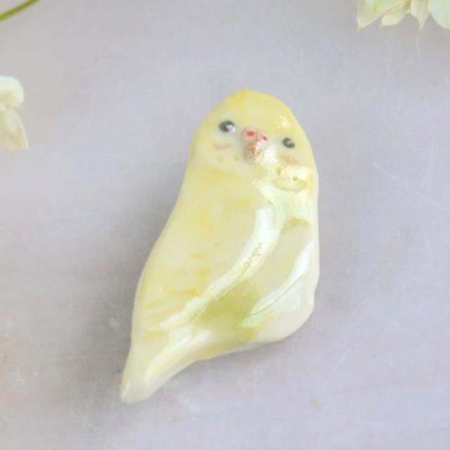 【小鳥雑貨はとはな】★ブローチ/セキセイ・黄色