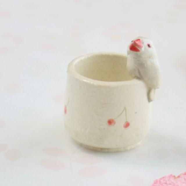 【小鳥雑貨はとはな】★陶器のはんこ立て/文鳥