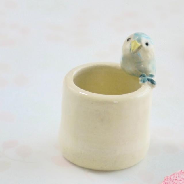 【小鳥雑貨はとはな】★陶器のはんこ立て/フクロウ・水色