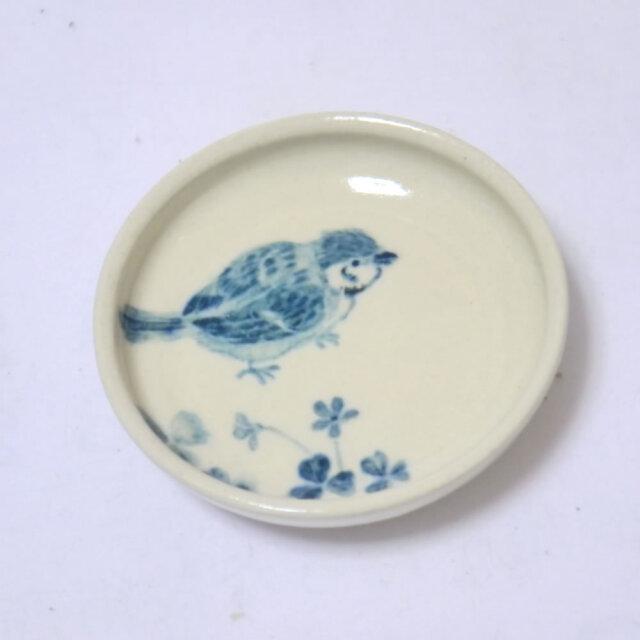 【小鳥雑貨はとはな】★豆皿/カタバミとスズメ