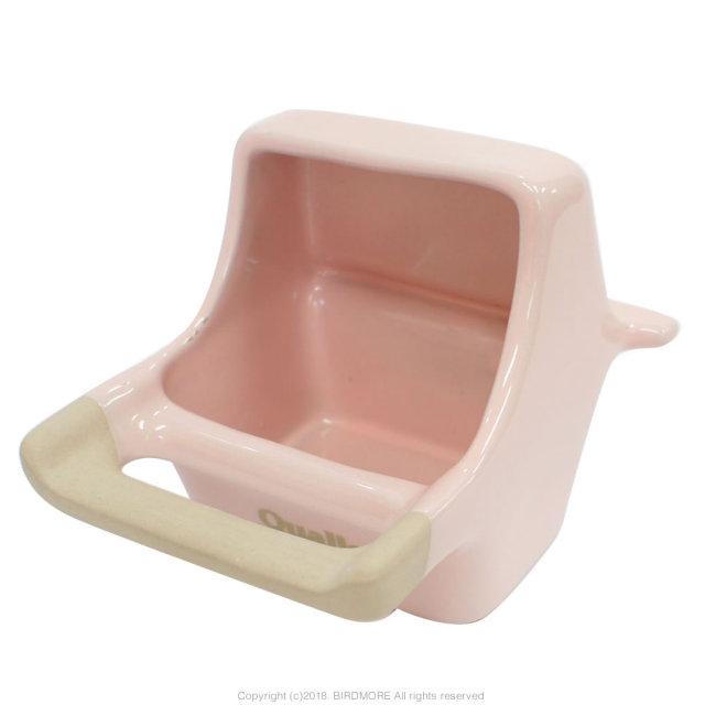 9996975【クオリス】Pottery陶器の食器フード付  HOEI35角/465インコ対応・ピンク