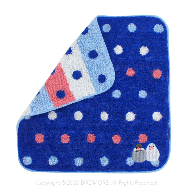 9997794【フレンズヒル】タオルハンカチ/さくぶんドット・ブルー ◆