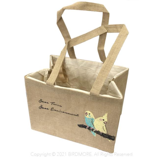 9998156【トモ コーポレーション】ジュートレジかごバッグ /セキセイとオカメ