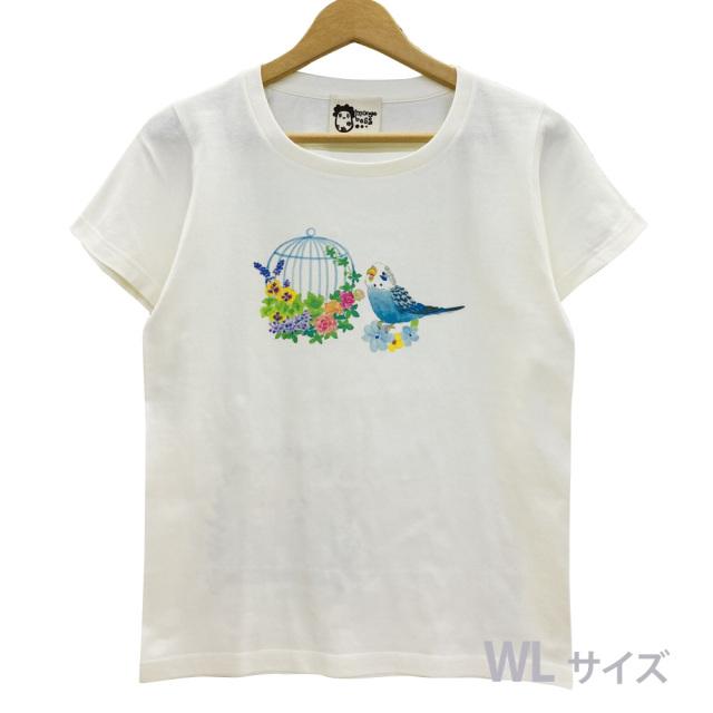 9998180【モンゴベス】 Tシャツ・女性用L / 鳥カゴ・セキセイブルー ◆
