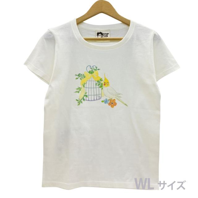 9998182【モンゴベス】 Tシャツ・女性用L / 鳥カゴ・オカメ ◆
