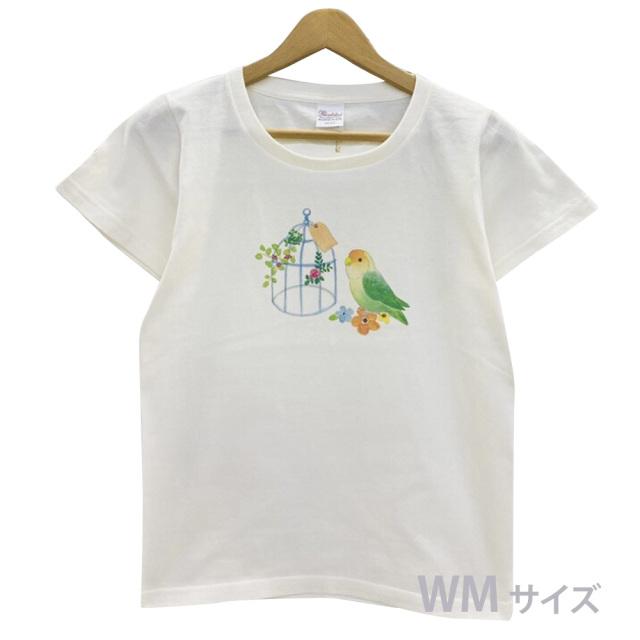 9998183【モンゴベス】 Tシャツ・女性用M / 鳥カゴ・コザクラ ◆