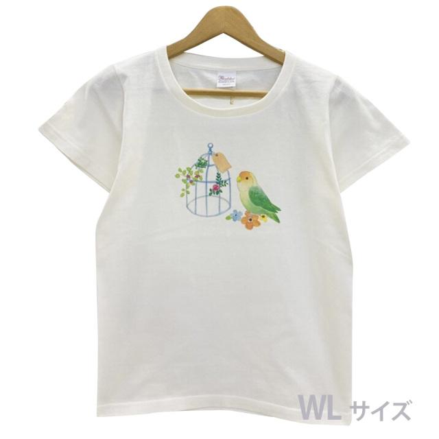 9998184【モンゴベス】 Tシャツ・女性用L / 鳥カゴ・コザクラ ◆