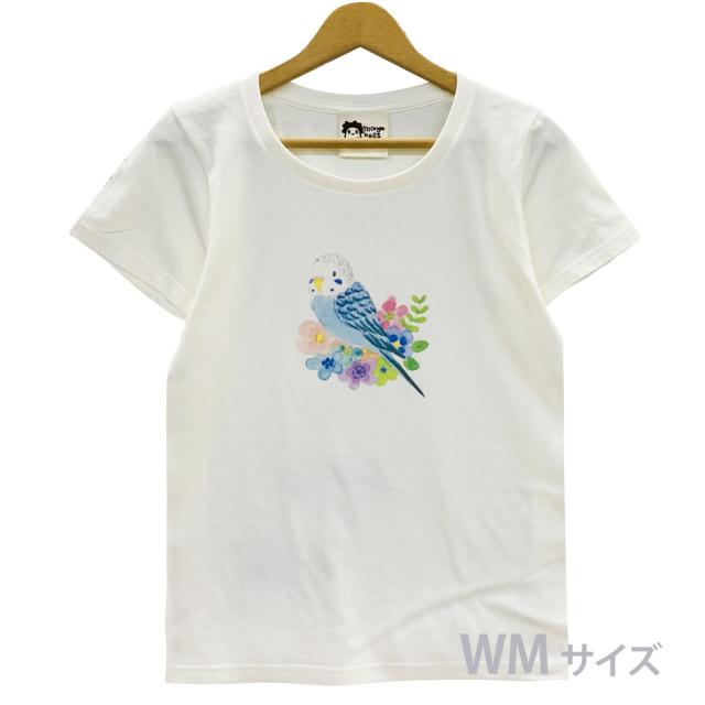 9998185【モンゴベス】 Tシャツ・女性用M / フラワー・セキセイブルー ◆