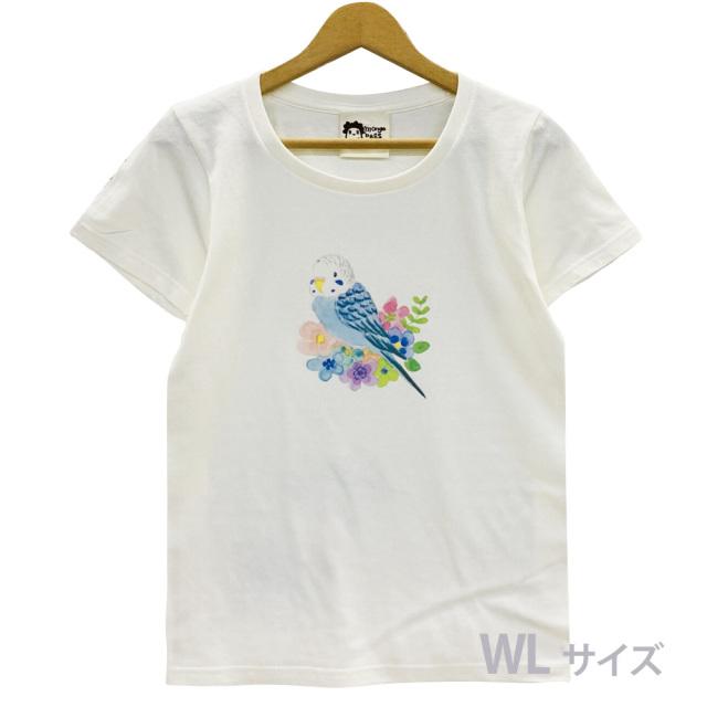 9998186【モンゴベス】 Tシャツ・女性用L / フラワー・セキセイブルー ◆