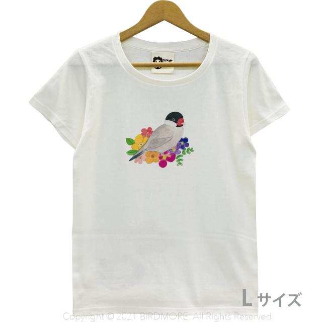 9998192【モンゴベス】 Tシャツ・女性用L / フラワー・文鳥 桜 ◆