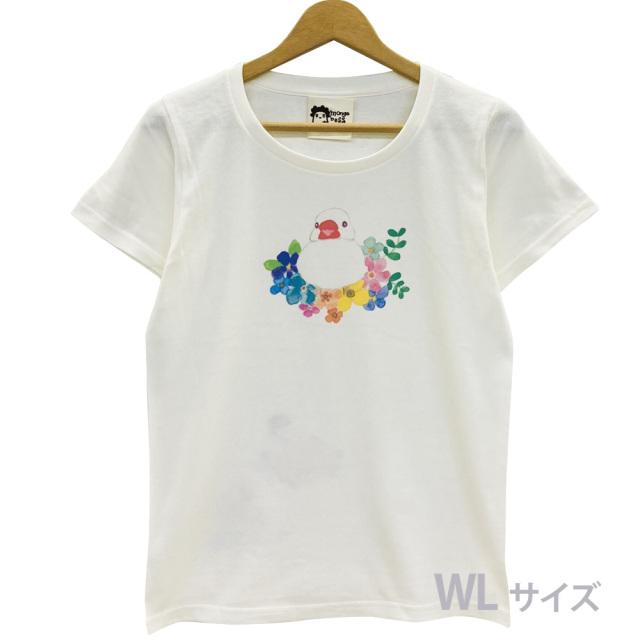 9998194【モンゴベス】 Tシャツ・女性用L/ フラワー・文鳥 白 ◆