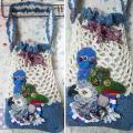 【あにまるめいと】★編み巾着バッグ/ヨウム&アケボノ