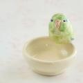 【小鳥雑貨はとはな】★陶器の小物入れ/マメルリハ・黄緑
