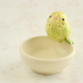 【小鳥雑貨はとはな】★陶器の小物入れ/セキセイ・黄緑♀