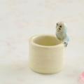【小鳥雑貨はとはな】★陶器のはんこ立て/セキセイ・水色