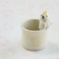 【小鳥雑貨はとはな】★陶器のはんこ立て/キバタン