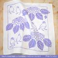 【珠とり屋】手ぬぐい009ハンカチ・紫陽花/文鳥◆