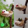 【もな工房】★ガーデンピック・皿巣/文鳥・白B