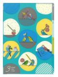 9995231【MIDORI】3ポケットクリアホルダー・A4(ブルー)/オカメ・セキセイ・コザクラ・マメルリハ・文鳥柄 35254006◆クロネコDM便可能