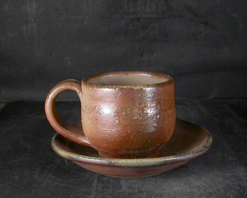 備前焼 登窯 備前焼物故作家 的野 求 皿付き緋襷・黄ゴマコーヒーカップ4