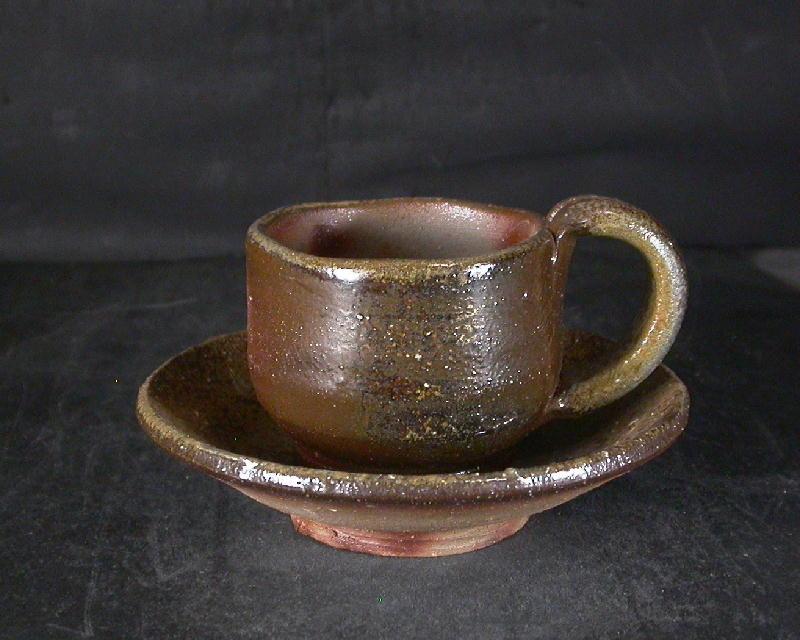 備前焼 登窯 備前焼物故作家 的野 求 皿付き黄ゴマコーヒーカップ6