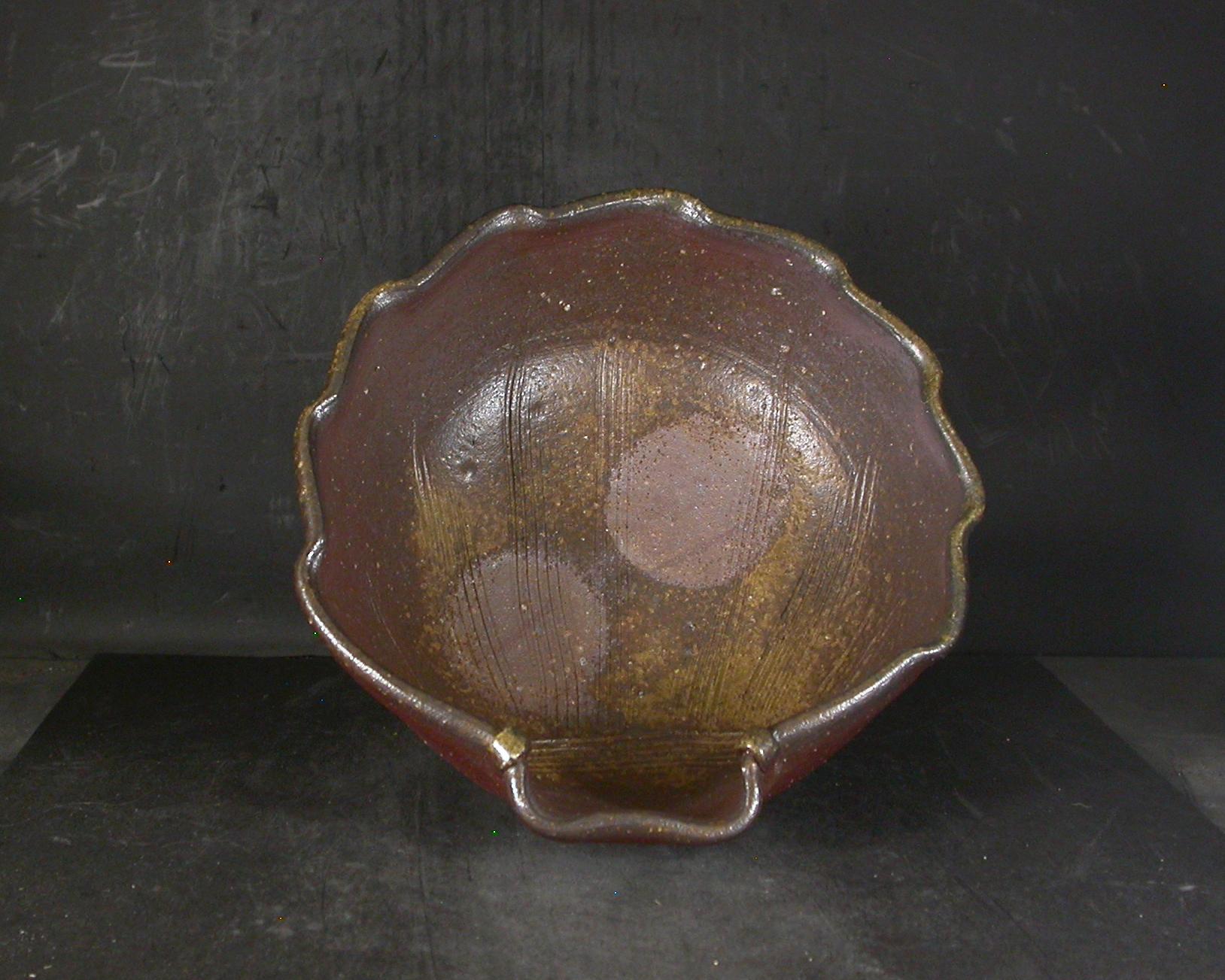 備前焼 登窯 備前焼女流作家 高見 勝代 22センチ共箱付き黄ゴマ貝の鉢1