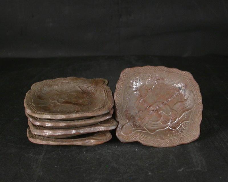 備前焼 登窯 備前焼伝統工芸士 小川 秀蔵 共箱付き型押し小皿5枚組1