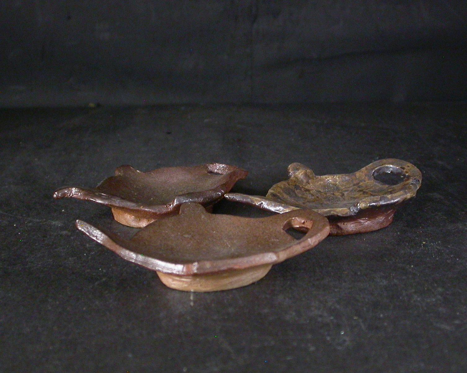 備前焼 登窯 六べえ製作 黄ゴマランプの豆皿3個組1