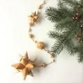 白樺 星のガーランド90cm 星2つ/キューブタイプ (茶色の紐)