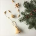 白樺 ベル(Sサイズ) のガーランド90cm ベル/キューブ/星タイプ (白色の紐)