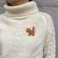 白樺 平織りのネコのブローチ
