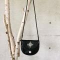 ピューター刺繍入りショルダーバッグ Sサイズ 黒/丸