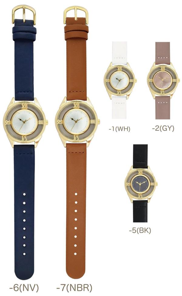 メール便 送料無料 腕時計 ホロウ レディース アナログ おしゃれ 人気 カジュアル シンプル 革ベルト