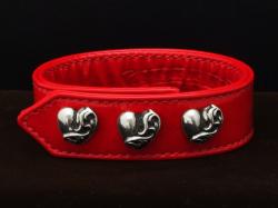 クロムハーツ3ボタン2スナップクロスブレスレット レッドレザー(腕輪)