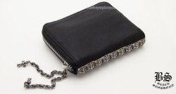 クロムハーツ3サイドジップ ウォレット ブラックレザー(財布)