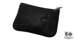 クロムハーツコインパース 1クロスパッチ ブラック ヘビーレザー(財布)