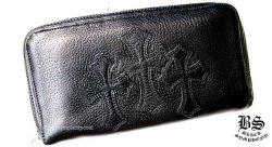 クロムハーツREC F ジップ 3セメタリー クロス パッチ ウォレット(財布)