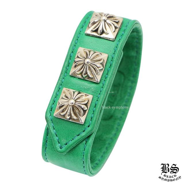 クロムハーツ chrome hearts 3ボタン 2スナップ ブレスレット ピラミッドクロスボタン グリーン 税込 ¥57,250