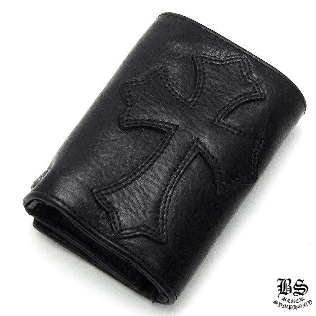クロムハーツ chrome hearts  3フォールド ウォレット セメタリークロスパッチ ブラック ヘビーレザー 税込 \192,170