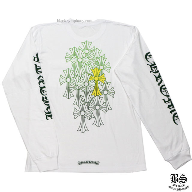 クロムハーツ ロングTシャツ グリーンセメタリークロス ホワイト